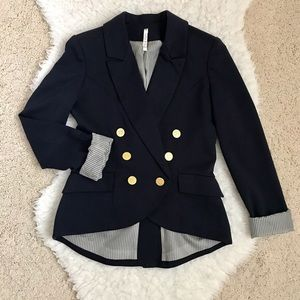Willow & Clay Navy Blue Blazer with Gold Hardware